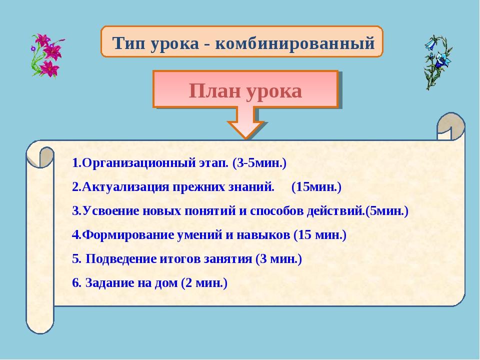 План урока 1.Организационный этап. (3-5мин.) 2.Актуализация прежних знаний. (...