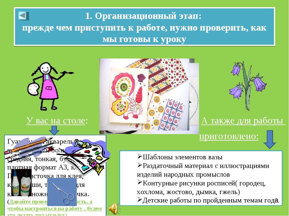 1. Организационный этап: прежде чем приступить к работе, нужно проверить, как...