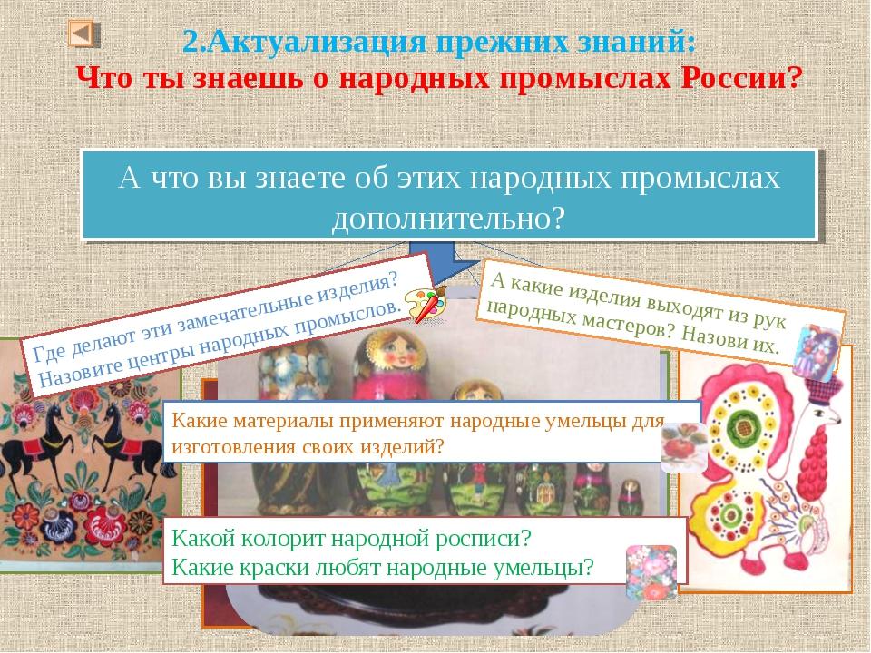 Что ты знаешь о народных промыслах России? Ответь, какой народный промысел пр...