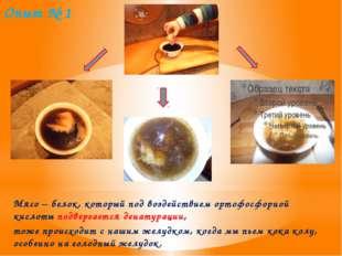 Опыт № 1 Мясо – белок, который под воздействием ортофосфорной кислоты подверг
