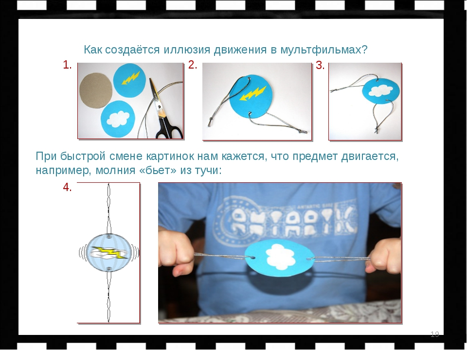 Быстрач * Как создаётся иллюзия движения в мультфильмах? 1. 3. 2. 4. При быст...