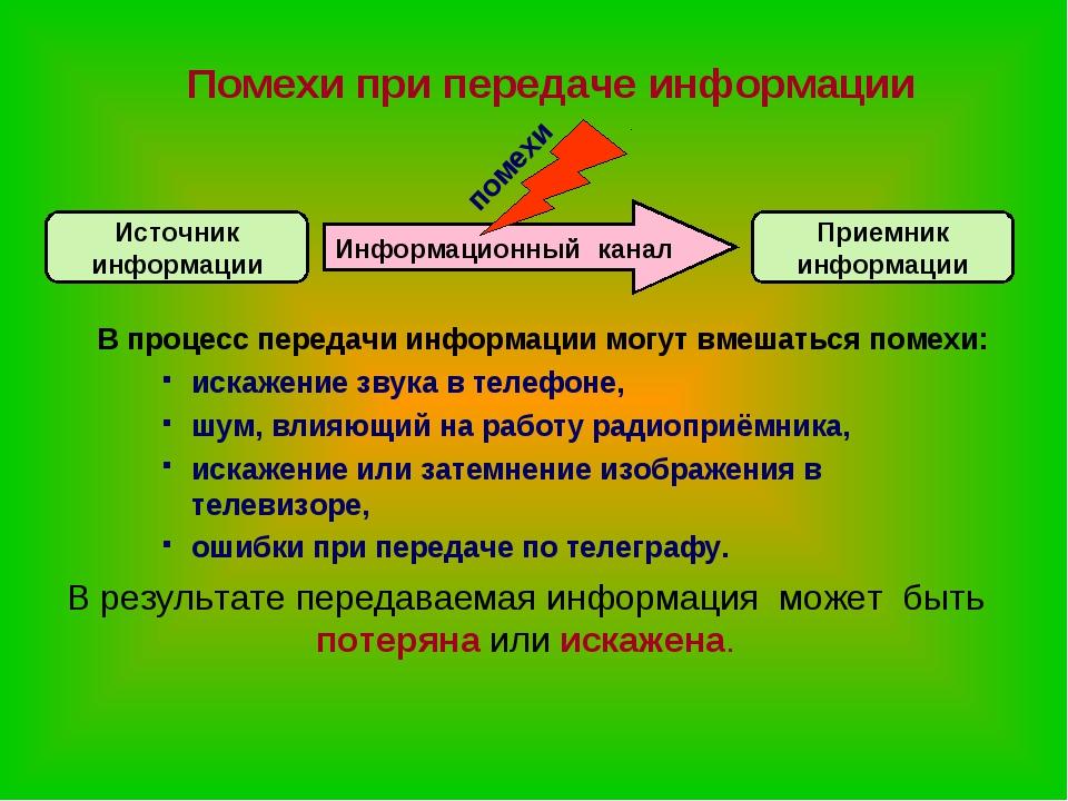 Помехи при передаче информации В процесс передачи информации могут вмешаться...