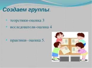 Создаем группы. теоретики-оценка 3 исследователи-оценка 4 практики- оценка 5.
