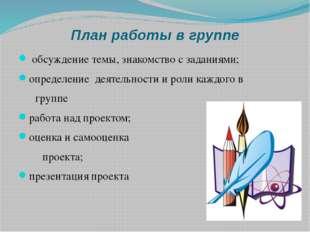 План работы в группе обсуждение темы, знакомство с заданиями; определение дея