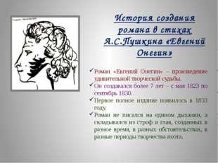 История создания романа в стихах А.С.Пушкина «Евгений Онегин» Роман «Евгений