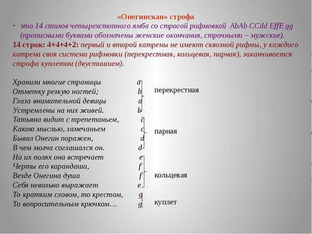 «Онегинская» строфа это 14 стихов четырехстопного ямба со строгой рифмовкой A...
