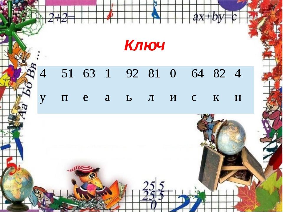 Ключ 4 51 63 1 92 81 0 64 82 4 у п е а ь л и с к н 4 51 63 1 92 81 0 64 82 4...