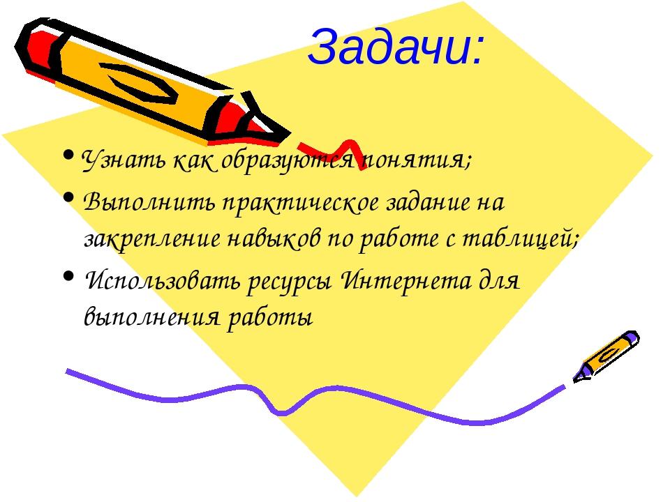 Задачи: Узнать как образуются понятия; Выполнить практическое задание на закр...