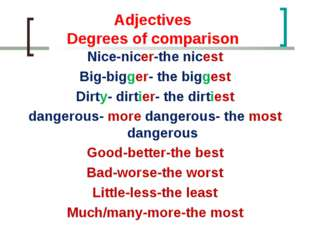 Adjectives Degrees of comparison Nice-nicer-the nicest Big-bigger- the bigge