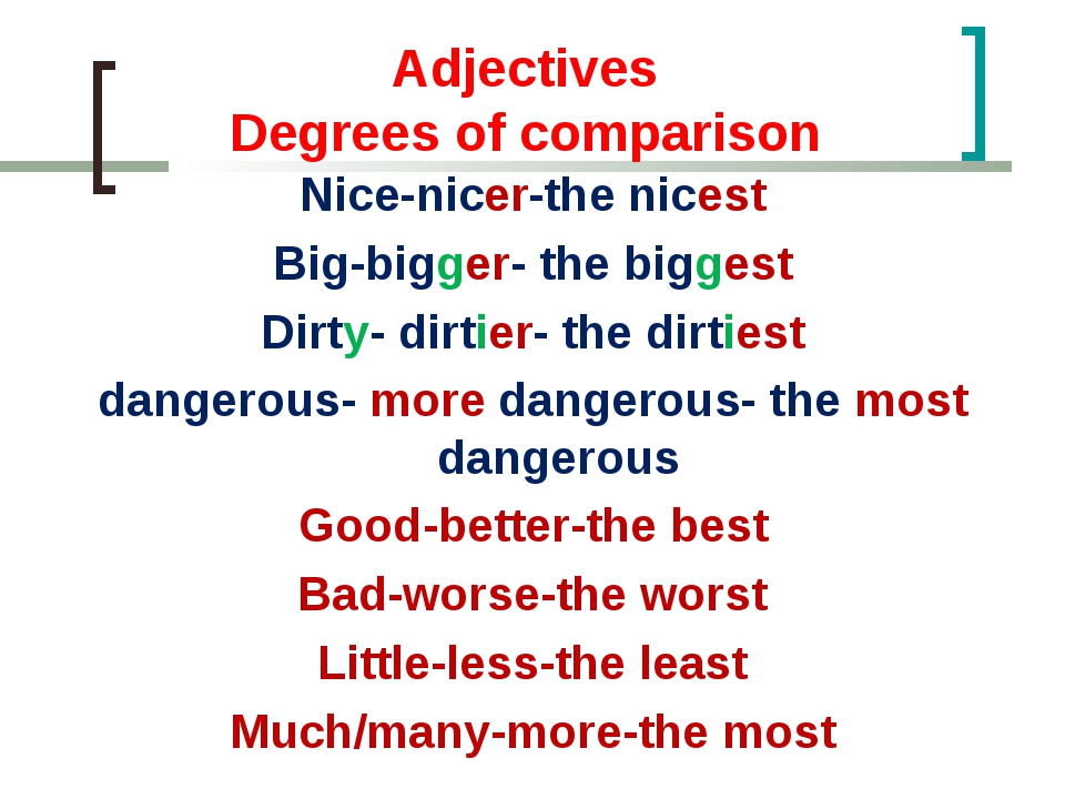 Adjectives Degrees of comparison Nice-nicer-the nicest Big-bigger- the bigge...