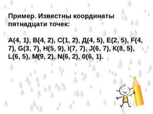 Пример. Известны координаты пятнадцати точек:  А(4, 1), В(4, 2), С(1, 2), Д