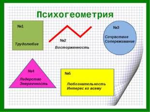 Психогеометрия №1 №2 №3 №4 №5 Трудолюбие Восторженность Сочувствие Сопережива