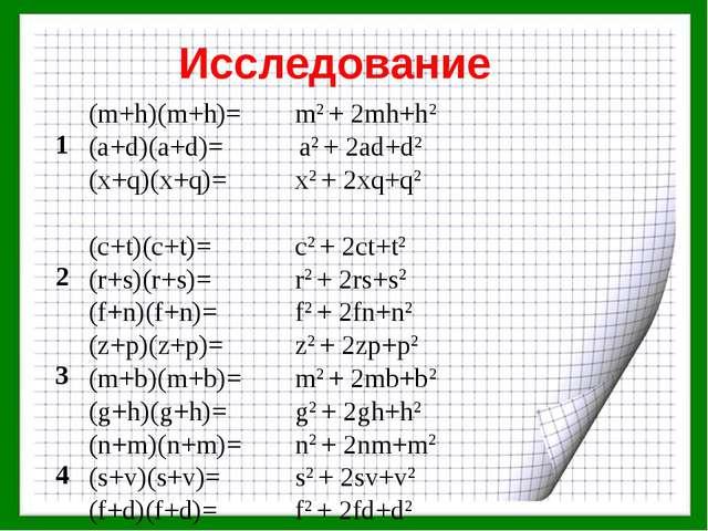 Исследование 1(m+h)(m+h)=m2 + 2mh+h2 (a+d)(a+d)= a2 + 2ad+d2 (x+q)(x+q)=...