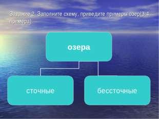 Задание 2. Заполните схему, приведите примеры озер(3-4 примера).