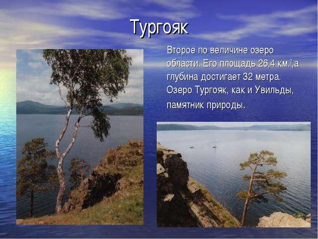 Тургояк Второе по величине озеро области. Его площадь 26,4 км.2,а глубина дос...