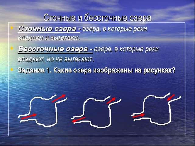 Сточные и бессточные озера Сточные озера - озера, в которые реки впадают и вы...