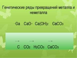 Ca CaO Ca(OН)2 CaСO3 C CO2 H2CO3 СаCO3 Генетические ряды превращений металла
