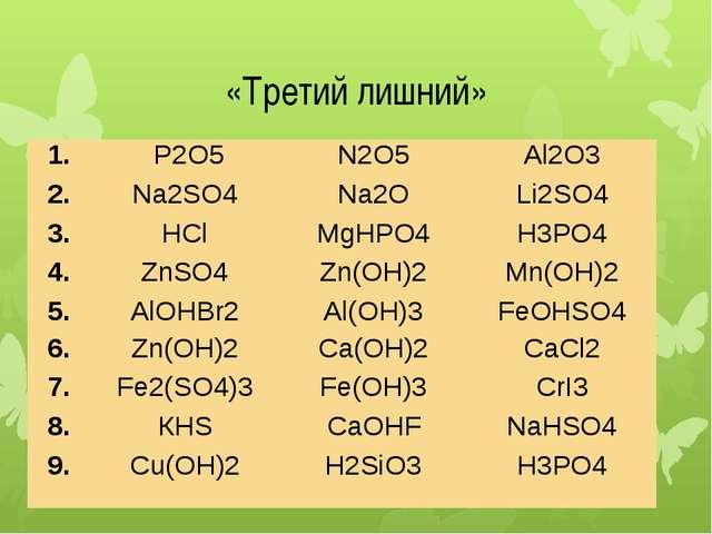 «Третий лишний» 1. P2O5 N2O5 Al2O3 2. Na2SO4 Na2O Li2SO4 3. HCl MgHPO4 H3PO4...
