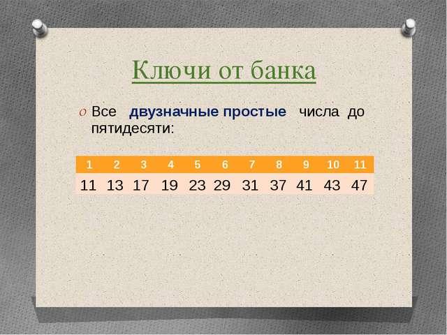 Ключи от банка Все двузначные простые числа до пятидесяти: 11 13 17 19 23 29...