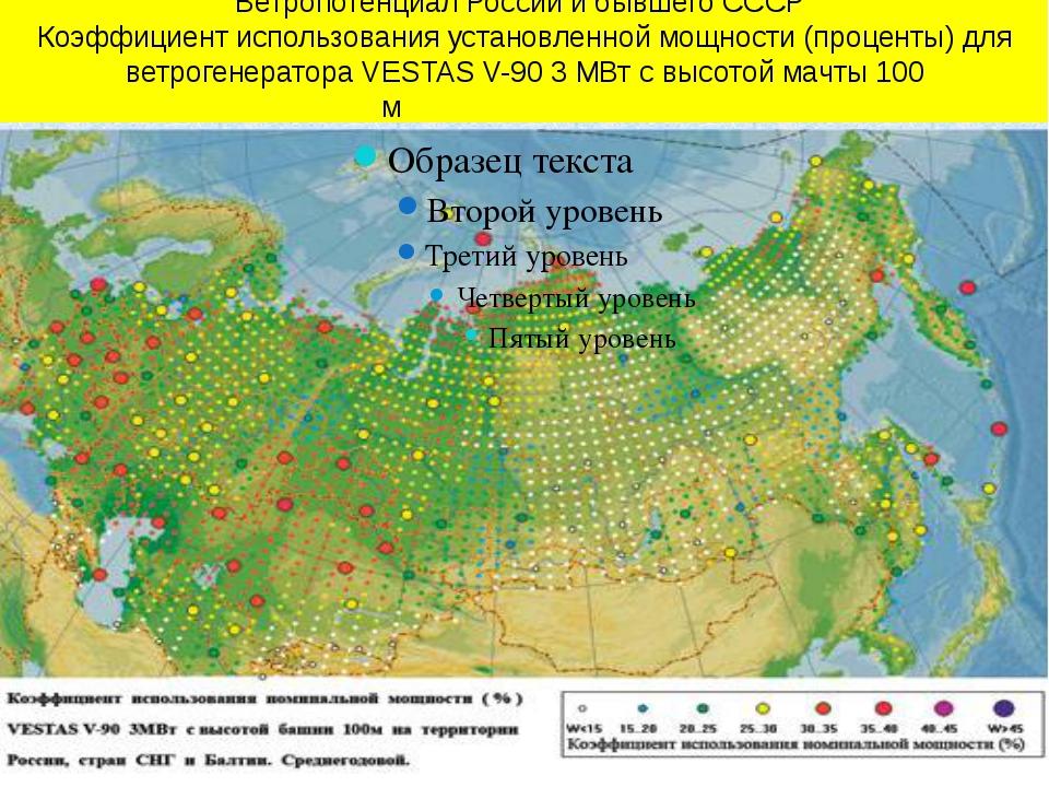 Ветропотенциал России и бывшего СССР Коэффициент использования установленно...
