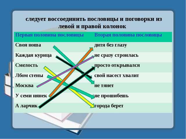следует воссоединить пословицы и поговорки из левой и правой колонок Первая...