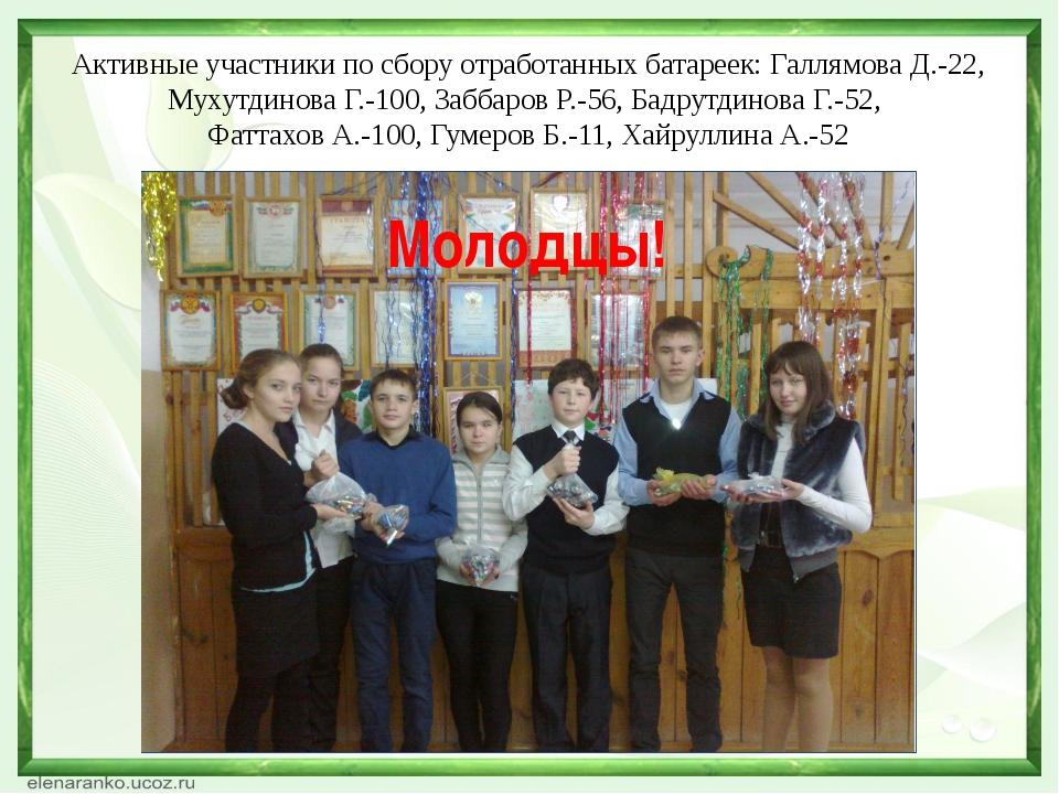 Активные участники по сбору отработанных батареек: Галлямова Д.-22, Мухутдино...