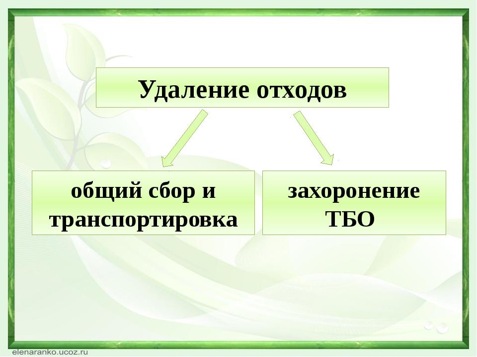 Удаление отходов общий сбор и транспортировка захоронение ТБО