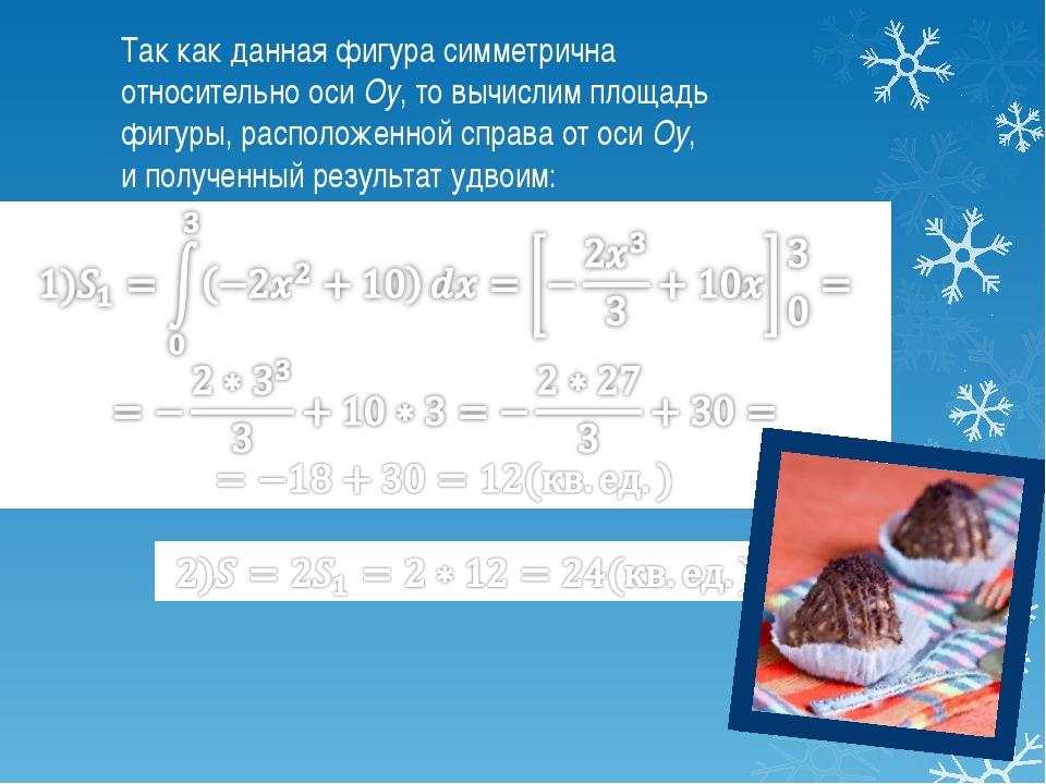 Так как данная фигура симметрична относительно оси Oy, то вычислим площадь фи...