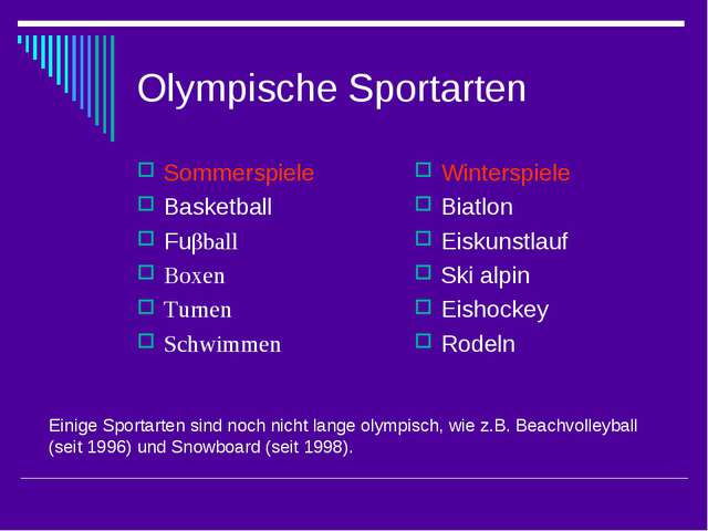 Olympische Sportarten Sommerspiele Basketball Fuβball Boxen Turnen Schwimmen...