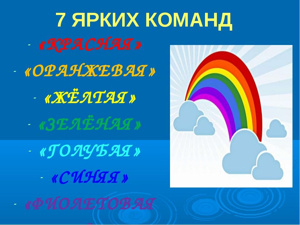 7 ЯРКИХ КОМАНД «КРАСНАЯ» «ОРАНЖЕВАЯ» «ЖЁЛТАЯ» «ЗЕЛЁНАЯ» «ГОЛУБАЯ» «СИНЯЯ» «ФИ...