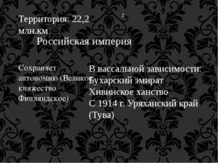 Территория: 22,2 млн.км 2 Российская империя Сохраняет автономию (Великое кня