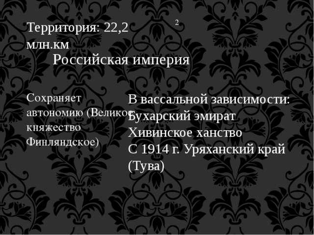 Территория: 22,2 млн.км 2 Российская империя Сохраняет автономию (Великое кня...