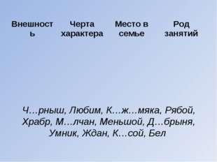 Ч…рныш, Любим, К…ж…мяка, Рябой, Храбр, М…лчан, Меньшой, Д…брыня, Умник, Ждан,