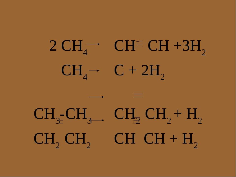 2 CH4 CH CH +3H2 CH4 C + 2H2 CH3-CH3CH2 CH2 + H2 CH2 CH2CH CH + H2