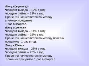 Банк «Спутник»: процент вклада – 12% в год; процент займа – 23% в год. Процен