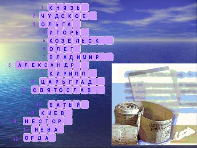 К Н Я З Ь 1 2 3 4 5 6 7 8 9 10 11 12 13 14 15 16 Ч У Д С К О Е О Л Ь Г А И Г...