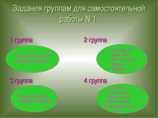 Задания группам для самостоятельной работы №1. 1 группа 2 группа 3 группа 4 г