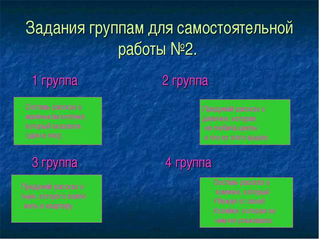 Задания группам для самостоятельной работы №2. 1 группа 2 группа 3 группа 4 г...