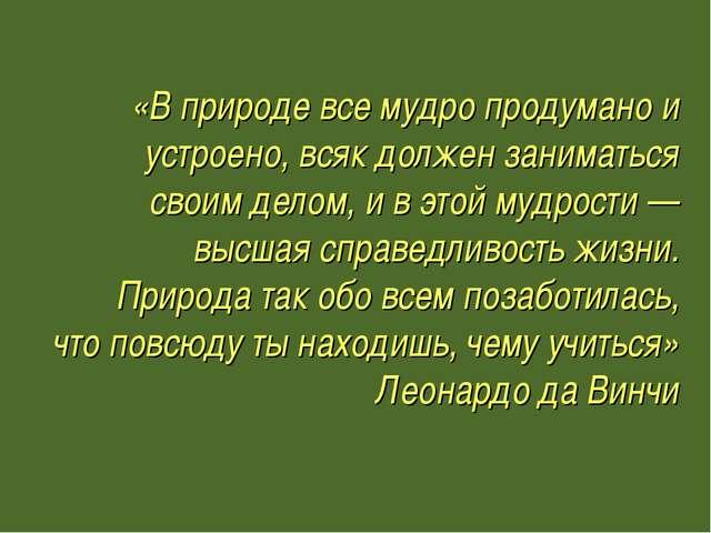 «В природе все мудро продумано и устроено, всяк должен заниматься своим дело...