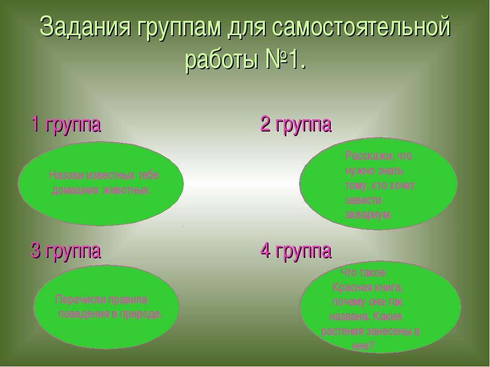 Задания группам для самостоятельной работы №1. 1 группа 2 группа 3 группа 4 г...