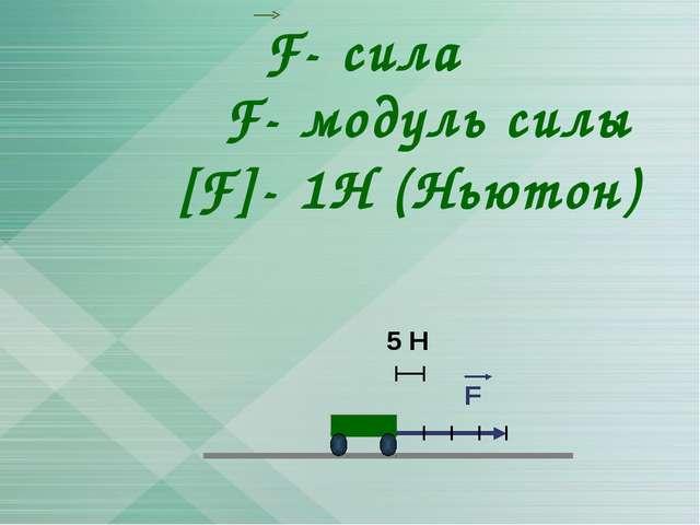 F- сила [F]- 1Н (Ньютон) F- модуль силы 5 Н