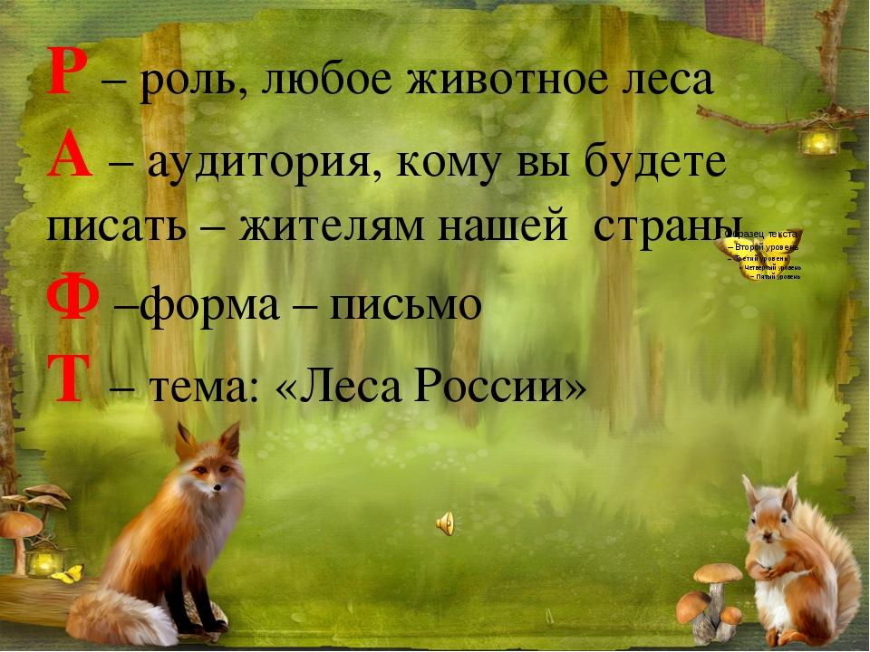 Р – роль, любое животное леса А – аудитория, кому вы будете писать – жителям...
