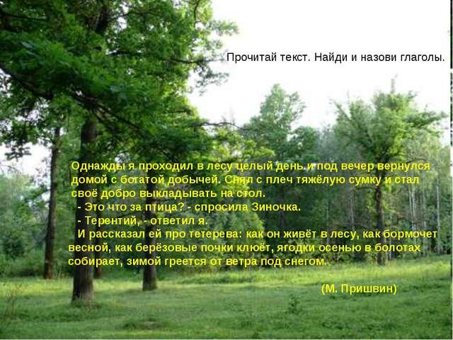 Прочитай текст. Найди и назови глаголы. Однажды я проходил в лесу целый день...