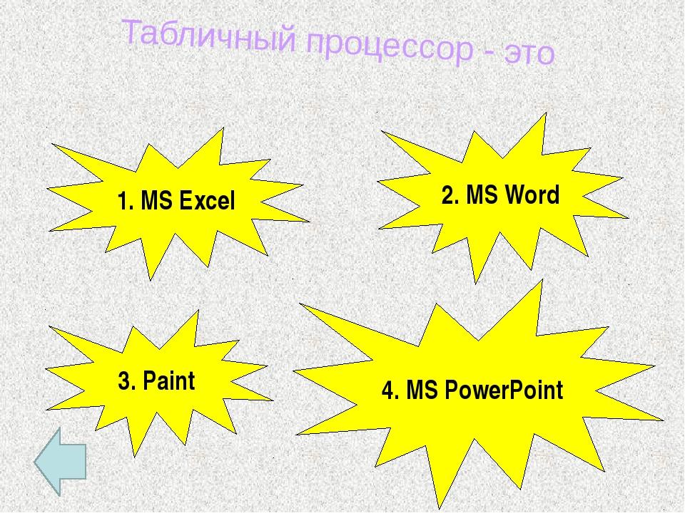 Основной структурный элемент электронной таблицы 2. Ячейка 3. Столбец 1. Строка
