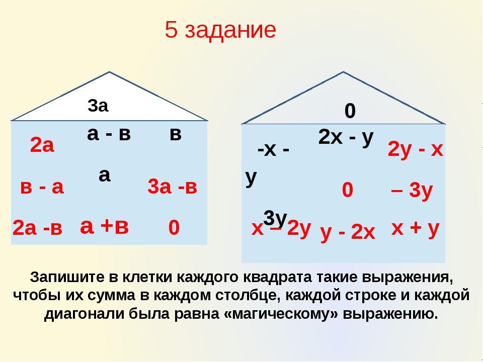 Запишите в клетки каждого квадрата такие выражения, чтобы их сумма в каждом...