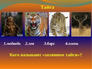1.медведь  2.лев 3.барс 4.олень  Тайга Кого называют «хозяином тайги»?