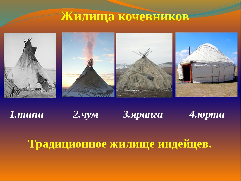 1.типи  2.чум 3.яранга 4.юрта  Жилища кочевников Традиционное жилище индей...