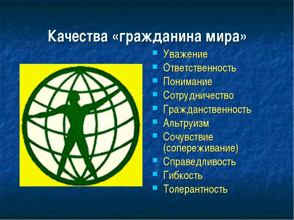Качества «гражданина мира» Уважение Ответственность Понимание Сотрудничество...