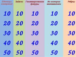 Единицы измеренийЗадачиГеометрические фигурыИз истории математикиРебусы 1