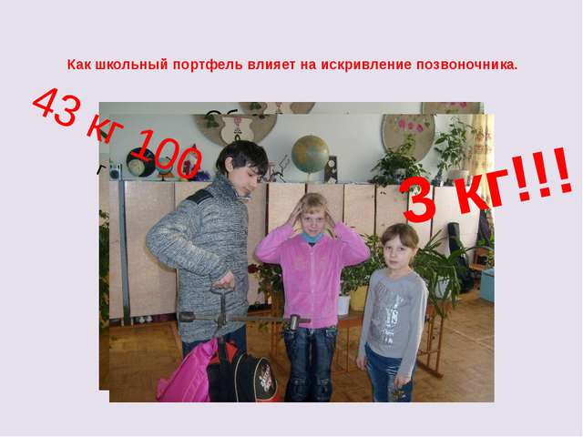 Как школьный портфель влияет на искривление позвоночника. 3 кг!!! 43 кг 100 г